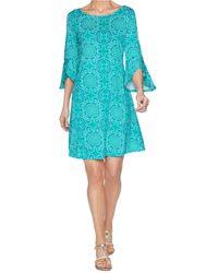 Ruby Rd. Petite Sundial Puff Dress - Blue