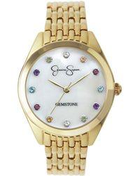 Jessica Simpson Genuine Gemstone Gold Tone Bracelet Watch 37mm - Metallic