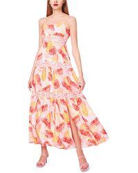 Betsey Johnson Shadow Palms Printed Maxi Dress - Pink