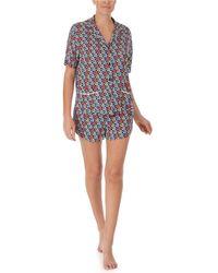 DKNY - Notch Collar Top & Boxer Shorts Pajama Set - Lyst