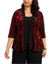 Alex Evenings Plus Size Printed Twinset - Red