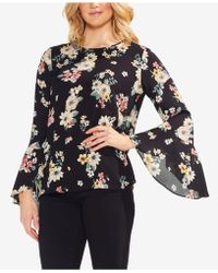 Vince Camuto - Floral-print Bell-sleeve Top - Lyst
