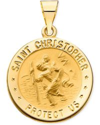 Macy's - 14k Gold Necklace, Saint Christopher Medal Pendant - Lyst
