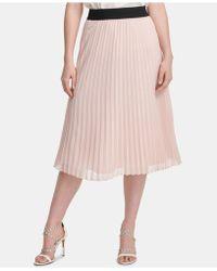 d709529fc5 DKNY Metallic Pleated Maxi Skirt in Metallic - Lyst