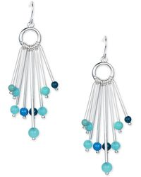 Style & Co. Silver-tone Beaded Stick Chandelier Earrings, Created For Macy's - Multicolour