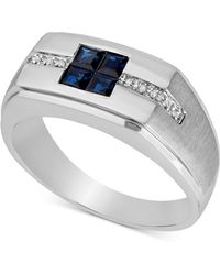 Macy's Blue Sapphire (3/4 Ct. T.w.) & Diamond Accent Ring In 10k White Gold - Metallic