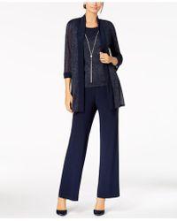 R & M Richards Metallic Pantsuit, Shell & Necklace Set - Blue