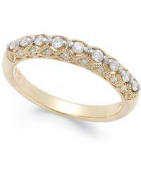 Macy's - Diamond Milgrain Band Ring (1/4 Ct. T.w.) In 14k White Gold - Lyst