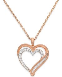 Macy's - Diamond Heart Pendant Necklace In 10k Rose Gold (1/4 Ct. T.w.) - Lyst