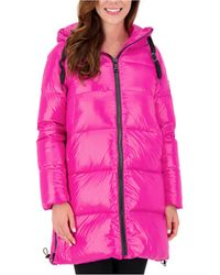 Vince Camuto High-shine Hooded Puffer Coat - Pink