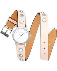 Rebecca Minkoff - Bffl Silver-tone Stud & Blush Double Wrap Leather Strap Watch 25mm - Lyst