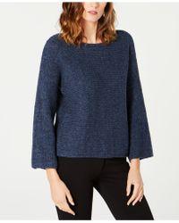 Eileen Fisher Textured-knit Baby Alpaca Flared Jumper - Blue