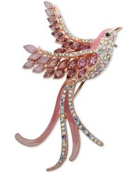 Anne Klein Gold-tone Crystal Bird Pin, Created For Macy's - Pink