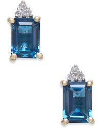 Macy's | London Blue Topaz (2-9/10 Ct. T.w.) & Diamond Accent Drop Earrings In 14k Gold | Lyst