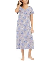 Charter Club Cotton Floral-print Long Nightgown, Created For Macy's - Multicolour