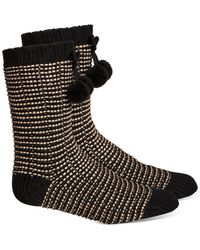 Charter Club Striped Slipper Socks With Faux-sherpa Lining, Created For Macy's - Black