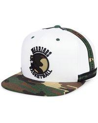buy popular c8990 3c0b2 Mitchell   Ness - Golden State Warriors Straight Fire Camo Hook Snapback Cap  - Lyst