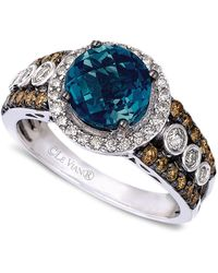 Le Vian Blue Topaz (2 Ct. T.w.) And White And Chocolate Diamond (3/4 Ct. T.w.) Statement Ring In 14k White Gold
