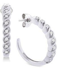 Macy's - Diamond Hoop Earrings (1/6 Ct. T.w.) In Sterling Silver - Lyst