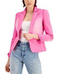 INC International Concepts Inc Puff-sleeve Denim Blazer, Created For Macy's - Pink