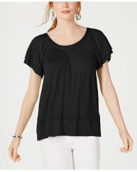 Style & Co. Tiered Flutter-sleeve Top, Created For Macy's - Black