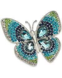 Charter Club Silver-tone Crystal Butterfly Pin, Created For Macy's - Metallic
