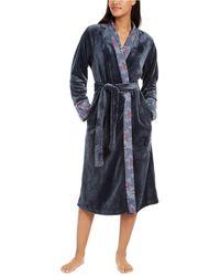 Sesoire French Fleece Long Wrap Robe - Grey