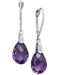 Macy's | 14k White Gold Earrings, Amethyst (5-9/10 Ct. T.w.) And Diamond Accent Pear Brio Drop | Lyst