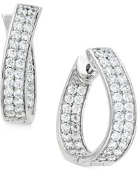 Macy's - Diamond In-and-out Hoop Earrings (1-1/2 Ct. T.w.) In 14k White Gold - Lyst