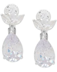 Anne Klein Silver-tone Crystal Clip-on Drop Earrings - White