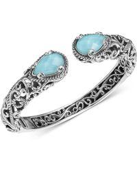 Carolyn Pollack Turquoise/rock Crystal Doublet Cuff Bracelet In Sterling Silver - Metallic