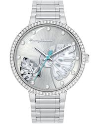 Tommy Bahama Shimmery Fronds Crystal Silver-tone Stainless Steel Bracelet Watch, 36mm - Metallic