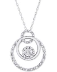 48eddd852e127 Lyst - Michael Kors Rose Gold-tone Pave Circle Pendant Necklace in ...