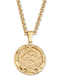 """Macy's - Diamond Accent St. Christopher Medallion 24"""" Pendant Necklace In Yellow Ion-plated Stainless Steel - Lyst"""