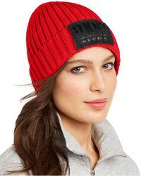 DKNY Fleece-lined Knit Beanie - Red