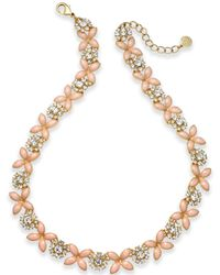 Charter Club - Gold-tone Crystal & Pink Stone Collar Necklace - Lyst