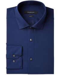 Marc New York - Slim-fit Wrinkle-free Navy Solid Dress Shirt - Lyst