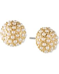 Lonna & Lilly - Gold-tone Faux Pearl Cluster Stud Earrings - Lyst