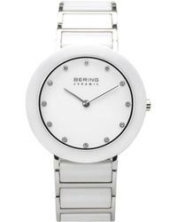 Bering Ladies Ceramic Bezel And Smooth Link Watch - White