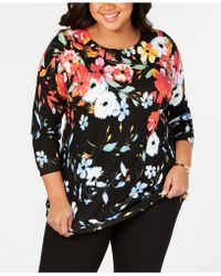 Joseph A Plus Size Floral-print Sweater - Multicolor