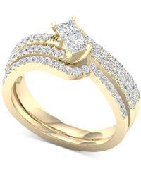 Macy's Diamond Two-stone Bridal Set (7/8 Ct. T.w.) In 14k Gold - Metallic