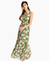 Bar Iii Floral-print Maxi Dress, Created For Macy's - Green