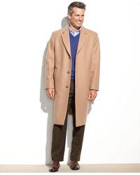 London Fog Big And Tall Signature Wool-blend Overcoat - Natural