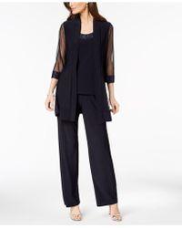 R & M Richards Embellished Layered-look Pantsuit - Blue