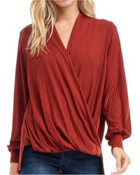 Fever Rib-knit Wrap Top - Red