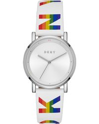 DKNY - Soho White Logo Polyurethane Strap Watch 34mm - Lyst