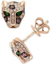 Effy Diamond (1/3 Ct. T.w.) & Tsavorite Accent Panther Stud Earrings In 14k Rose Gold - Metallic