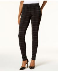 Style & Co. Petite Plaid Ponte Legging, Created For Macy's - Black