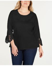 9be9cdad226 Lyst - Alfani Plus Size Printed Lace-trim Top in Black