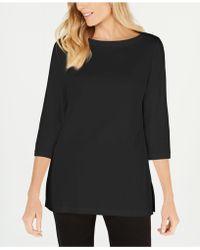 Karen Scott Cotton Boat-neck 3/4-sleeve Knit Top, Created For Macy's - Black